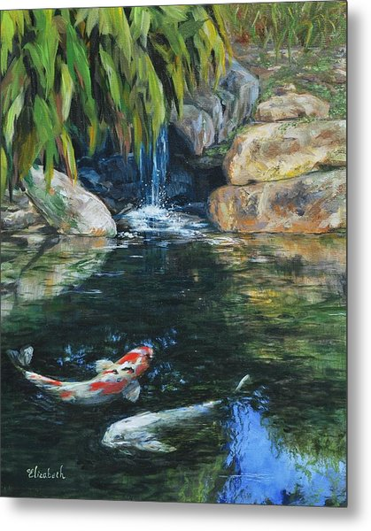 Koi Under The Waterfall Metal Print by Beth Maddox