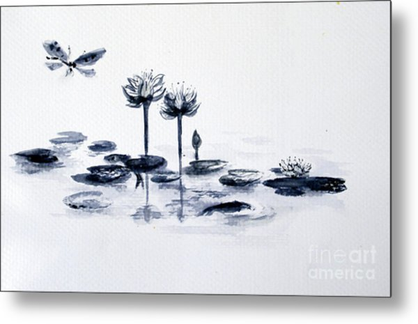 Koi With Waterlilies And Flutterby Metal Print