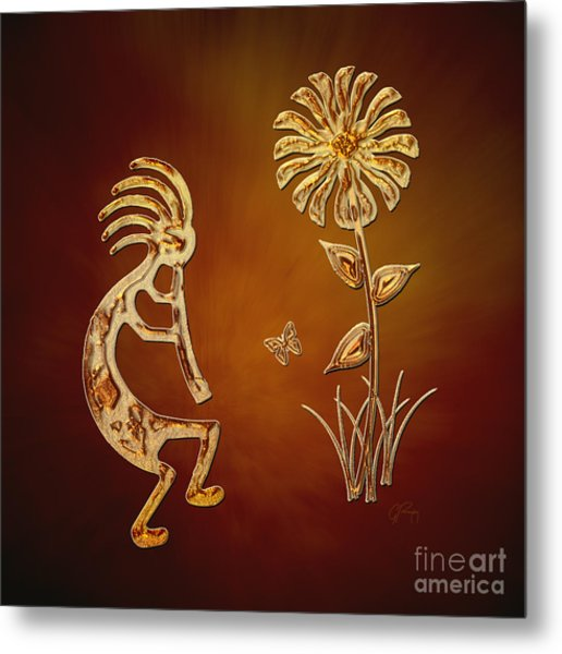 Kokopelli - Flower Serenade Metal Print
