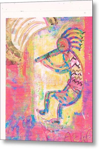 Kokopelli Sleepy Dance Metal Print by Anne-Elizabeth Whiteway
