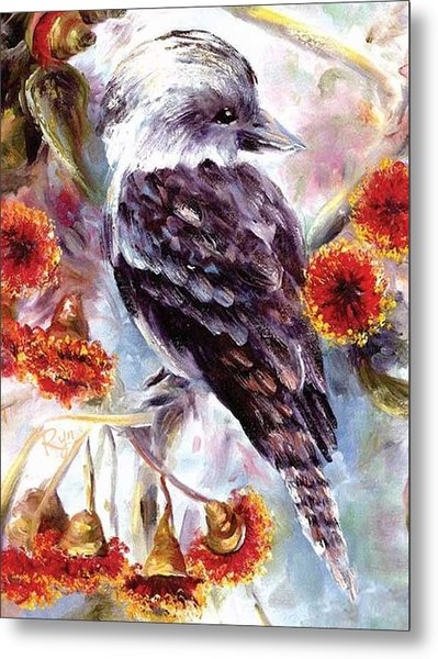 Kookaburra In Red Flowering Gum Metal Print