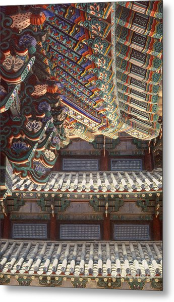 Korean Buddhism Temple Photography - Temple Tiles Metal Print
