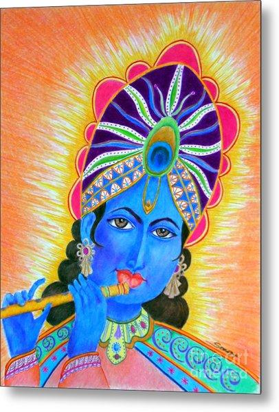 Krishna -- Colorful Portrait Of Hindu God Metal Print