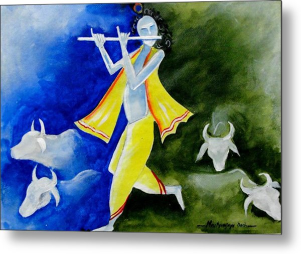 Krishna Magic Metal Print