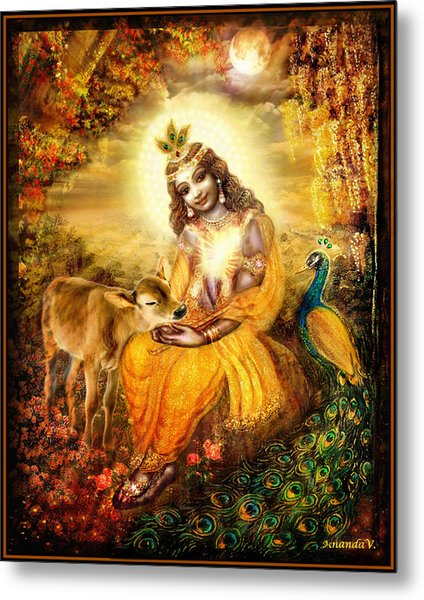 Krishna With The Calf Metal Print by Ananda Vdovic