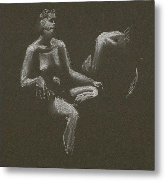 Kroki 2015 04 25 _3 Figure Drawing White Chalk Metal Print