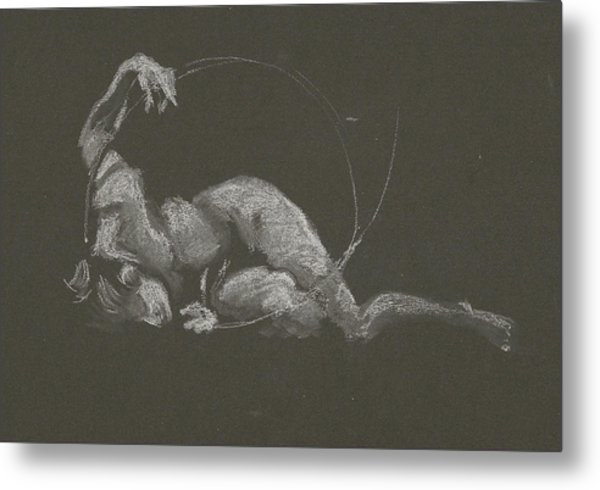 Kroki 2015 10 03_14b Figure Drawing White Chalk Metal Print