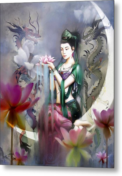 Kuan Yin Lotus Of Healing Metal Print