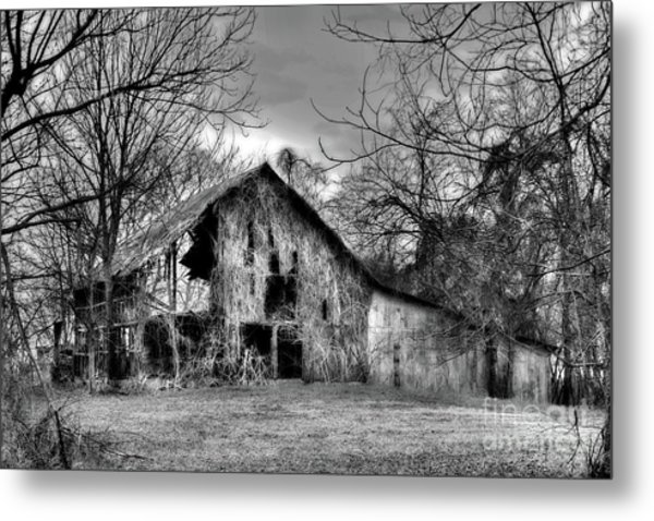 Kudzu Covered Barn In The Mississippi Delta Metal Print