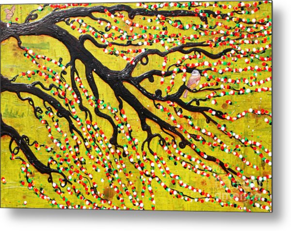 Metal Print featuring the mixed media Kyoto Blossoms by Natalie Briney
