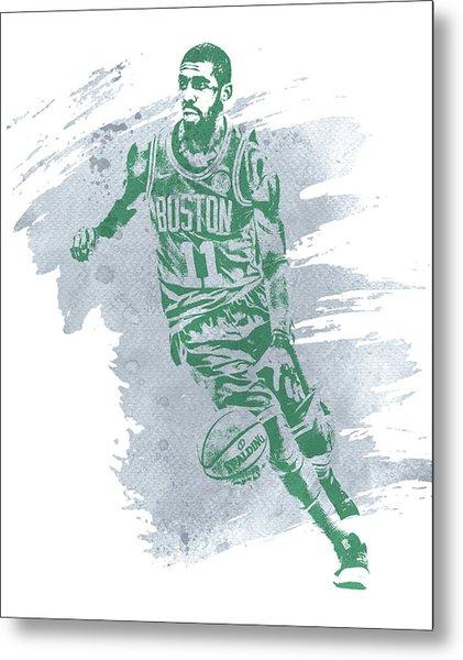 Kyrie Irving Boston Celtics Water Color Art 3 Metal Print