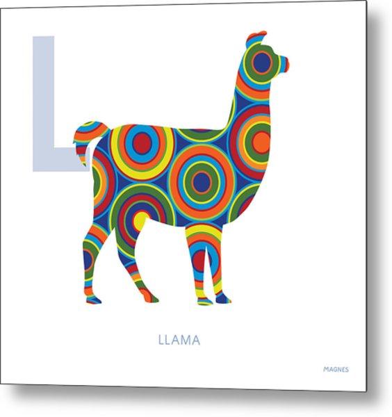 L Is For Llama Metal Print