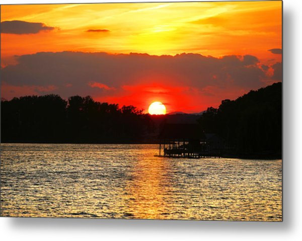 Bloody Red Sunset Smith Mountain Lake Metal Print
