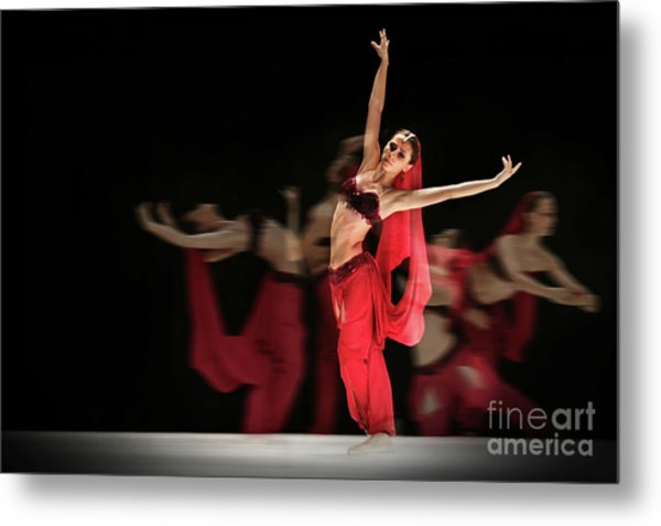 Metal Print featuring the photograph La Bayadere Ballerina In Red Tutu Ballet by Dimitar Hristov