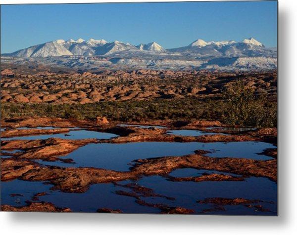 La Sal Mountains And Ephemeral Pools Metal Print