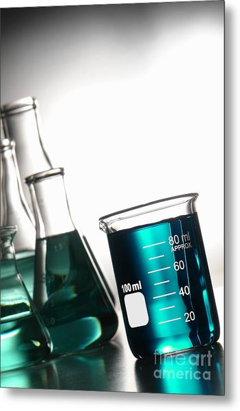 Laboratory Glassware In Science Research Lab Metal Print