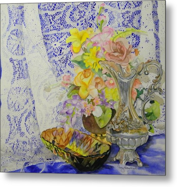 Lace And Flowers Metal Print by Terry Honstead