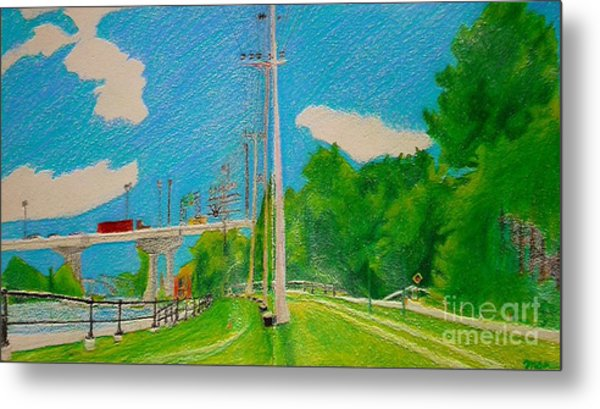 Lachine Canal Pencil Crayon Metal Print