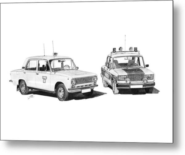 Lada Vaz 21011 Taxi 2107 Police Metal Print by Gabor Vida
