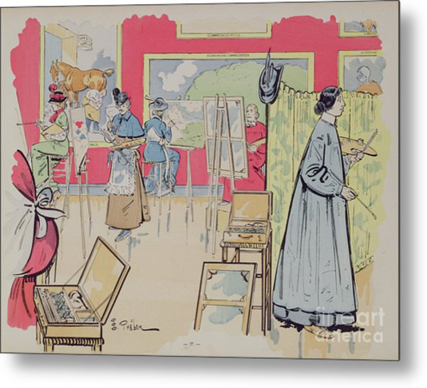 Ladies Attending A Painting Class, 1902 Metal Print