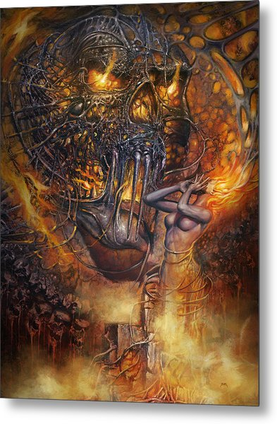 Metal Print featuring the digital art  Lady And Skull by Uwe Jarling