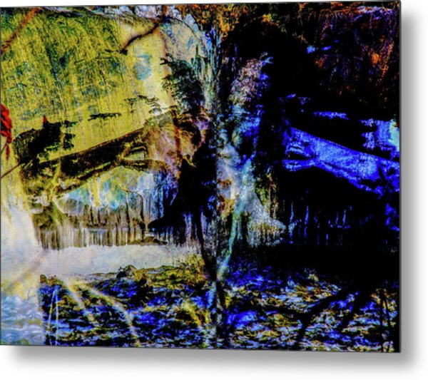 Lady At The Beach Through The Frozen Falls Metal Print