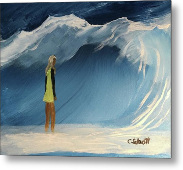 Lady Faces The Wave Metal Print