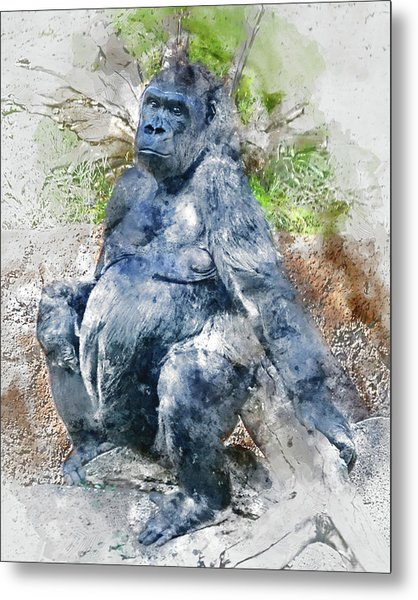 Lady Gorilla Sitting Deep In Thought Metal Print