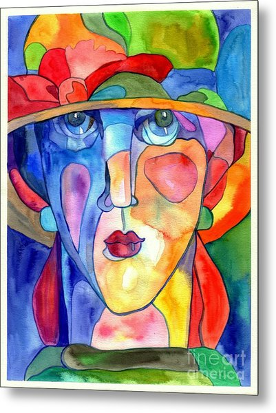 Lady In Hat Watercolor Metal Print