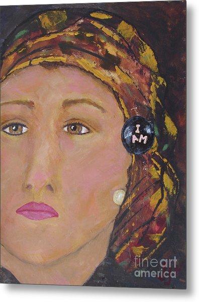 Lady In Head Scarf  Metal Print