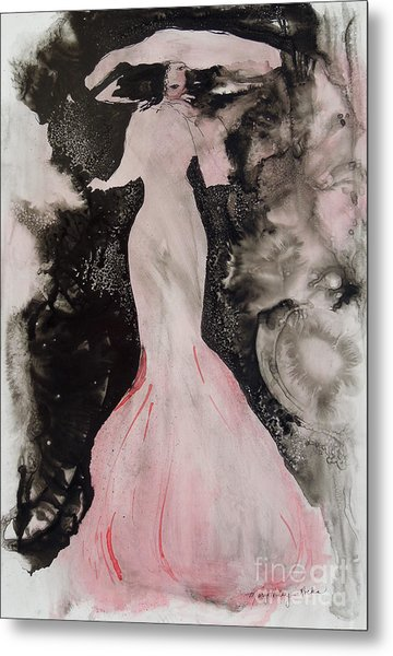 Lady In The Pink Hat Metal Print
