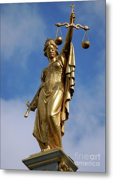 Lady Justice In Bruges Metal Print