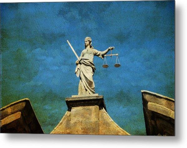 Lady Justice. Streets Of Dublin. Painting Collection Metal Print