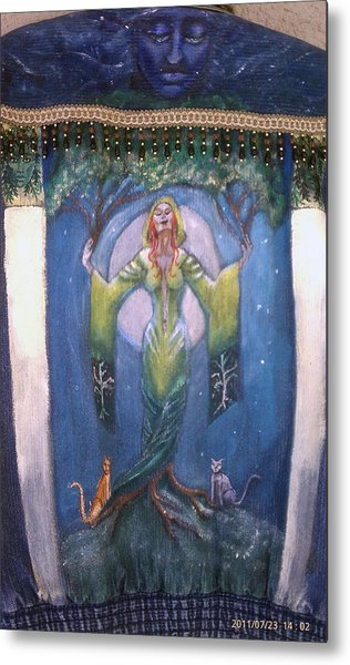 Lady Of The Green Tree Metal Print
