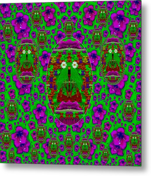 Lady Panda In The Land Of Eggs And Flowers Metal Print