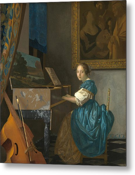 Lady Seated At A Virginal Metal Print