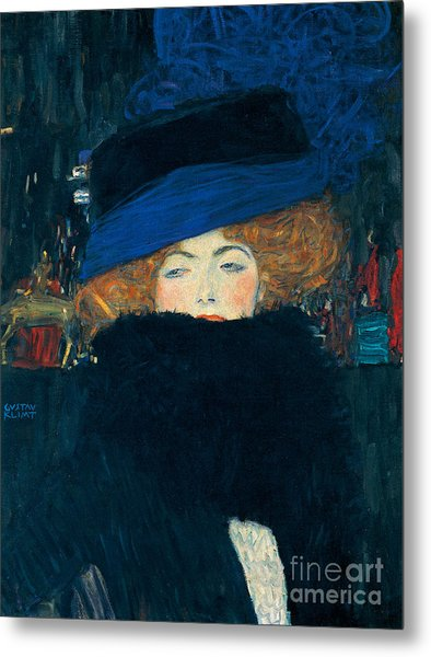 Lady With A Hat And A Feather Boa Metal Print