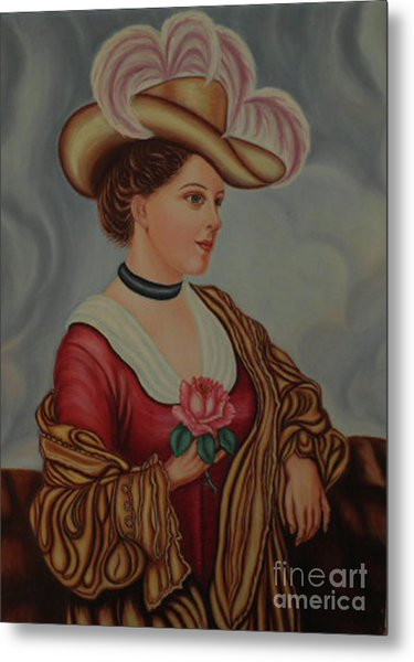 Lady With A Pink Rose Metal Print by Margit Armbrust