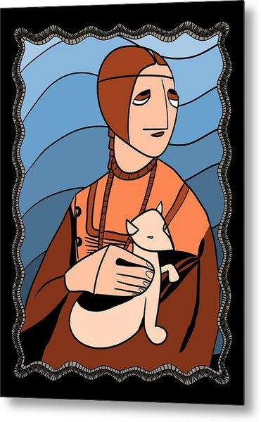 Lady With An Ermine By Piotr Metal Print