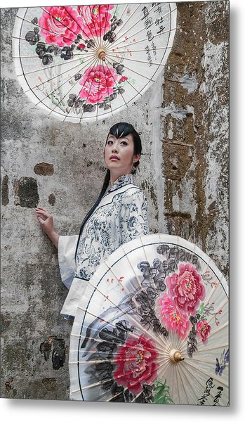 Lady With An Umbrella. Metal Print