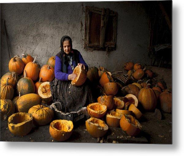 Lady With Pumpkins Metal Print