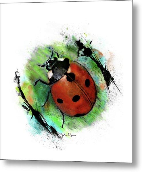 Ladybug Drawing Metal Print
