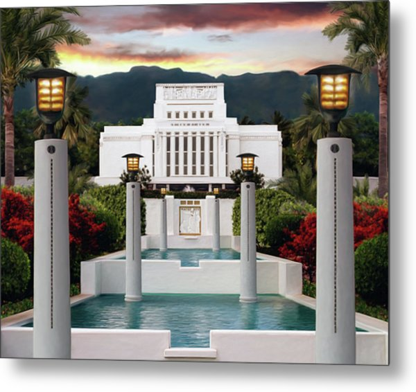 Laie Temple Metal Print by Brent Borup