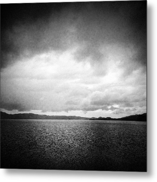 Lake And Dramatic Sky Black And White Metal Print