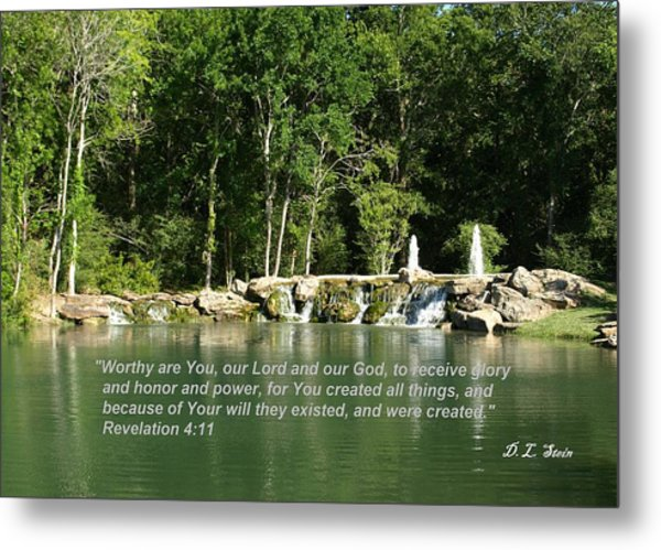 Lake At Cinco Ranch With Scripture Metal Print by Dennis Stein