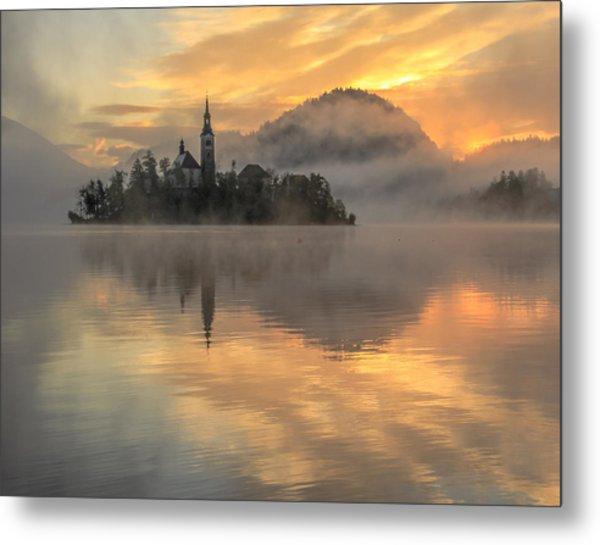 Lake Bled Sunrise Slovenia Metal Print