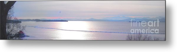 Lake Champlain South From Atop Battery Park Wall Panorama Metal Print