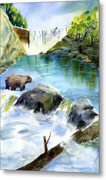 Lake Clementine Falls Bear Metal Print