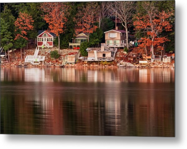 Lake Cottages Reflections Metal Print