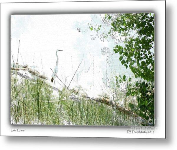 Lake Crane Metal Print